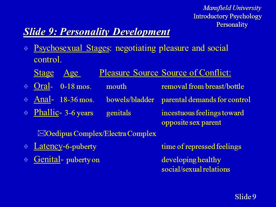 Mansfield University Introductory Psychology Personality Slide