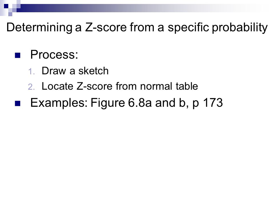Determining a Z-score from a specific probability Process: 1.