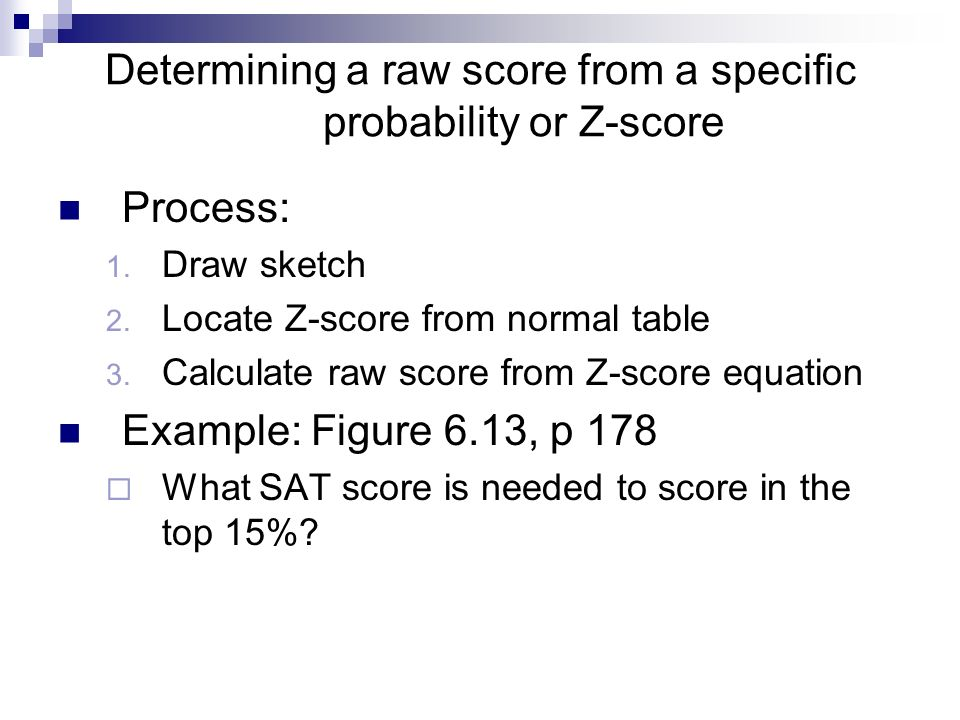 Determining a raw score from a specific probability or Z-score Process: 1.