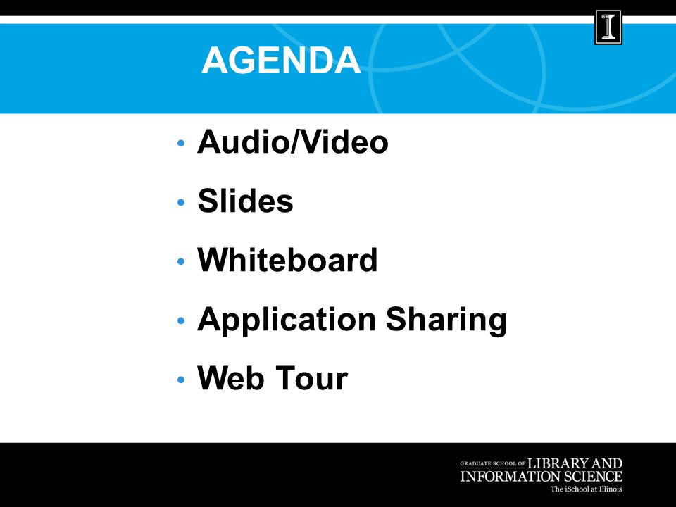 AGENDA Audio/Video Slides Whiteboard Application Sharing Web Tour