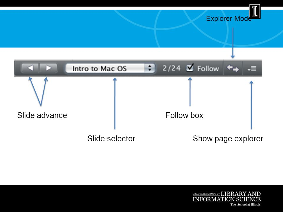 Slide advance Slide selector Follow box Show page explorer Explorer Mode
