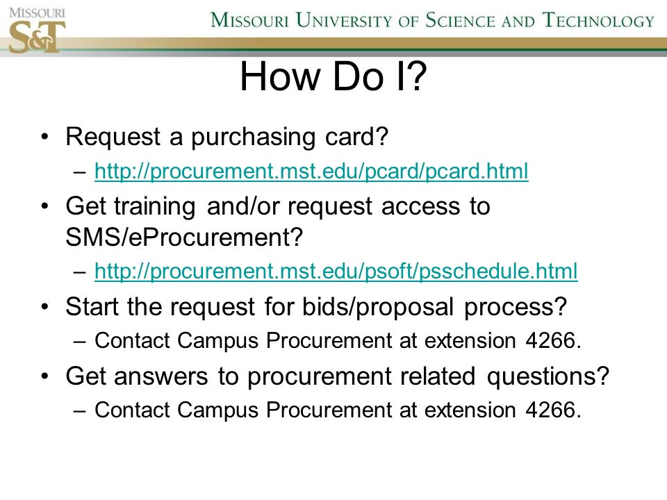 Missouri S&T Campus Procurement Services G5C Campus Support