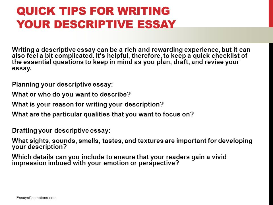 Essay On Healthcare Quick Tips For Writing Your Descriptive Essay Writing A Descriptive Essay  Can Be A Rich And Private High School Admission Essay Examples also Essays About High School Descriptive Writing English  Luis Cordova What Is Descriptive  Help With Assignment