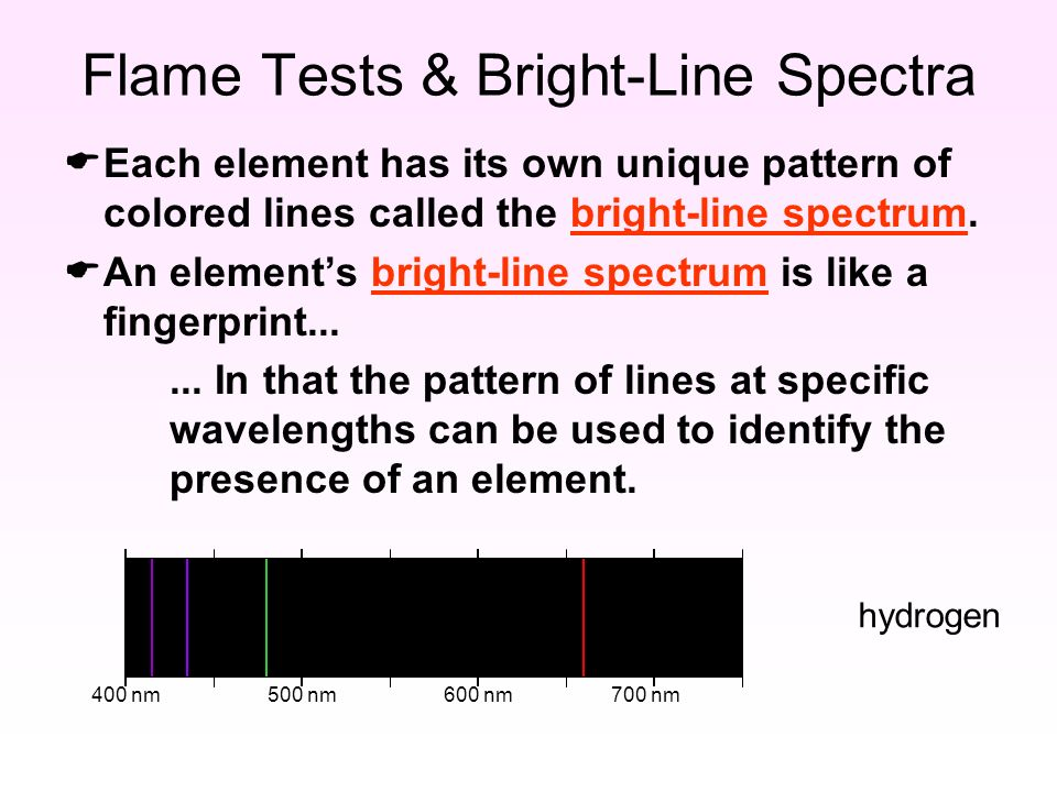 400 nm500 nm600 nm700 nm hydrogen Flame Tests & Bright-Line Spectra  Each element has its own unique pattern of colored lines called the bright-line spectrum.