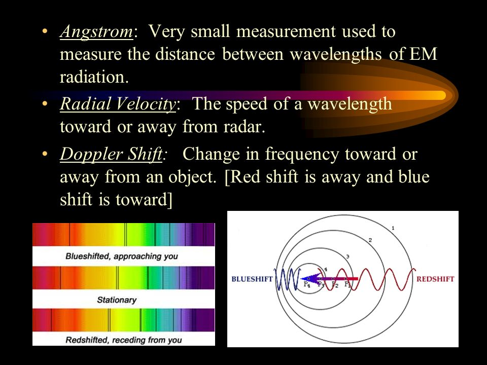 Angstrom: Very small measurement used to measure the distance between wavelengths of EM radiation.