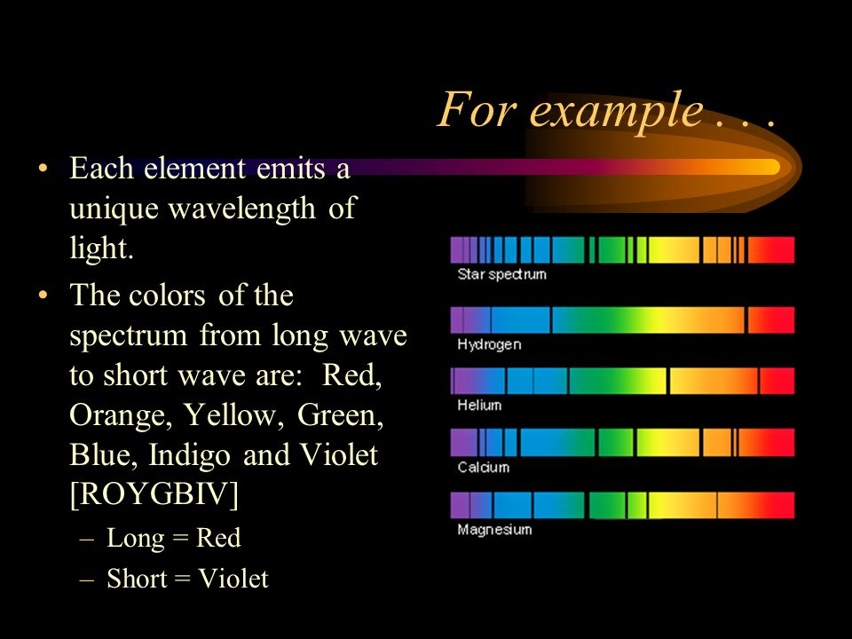 For example... Each element emits a unique wavelength of light.