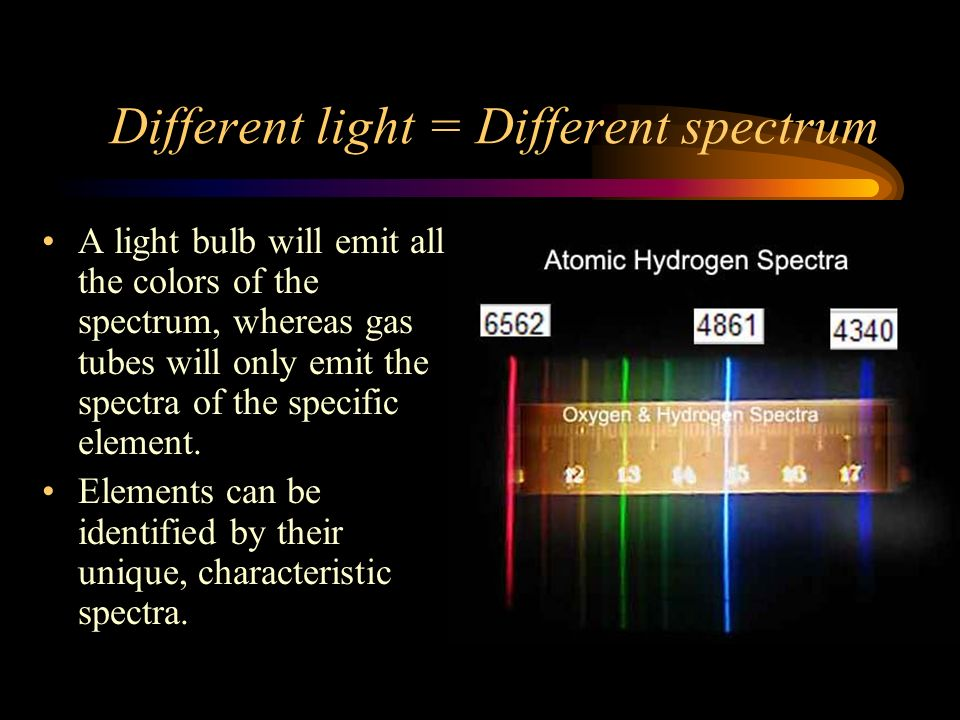 Different light = Different spectrum A light bulb will emit all the colors of the spectrum, whereas gas tubes will only emit the spectra of the specific element.
