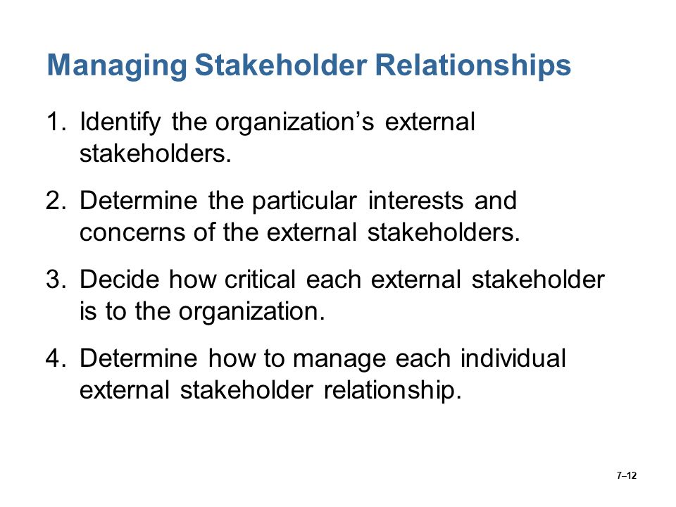 7–12 Managing Stakeholder Relationships 1.Identify the organization's external stakeholders.