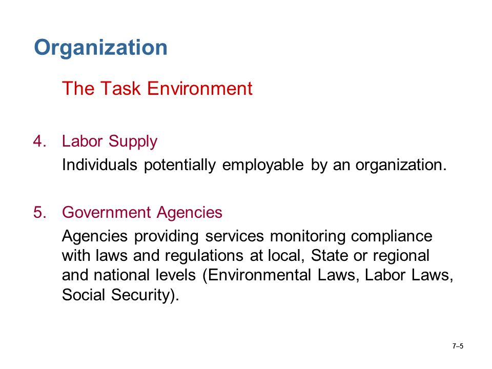 7–5 Organization The Task Environment 4.Labor Supply Individuals potentially employable by an organization.