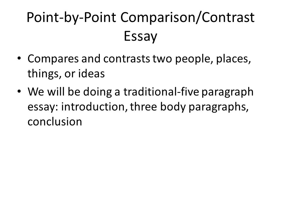 Compare And Contrast Essay Wrightsville And Virginia Beach  Ppt   Comparisoncontrast Essay Compares And Contrasts Two People Places  Things Or Ideas We Will Be Doing A Traditionalfive Paragraph Essay  Introduction