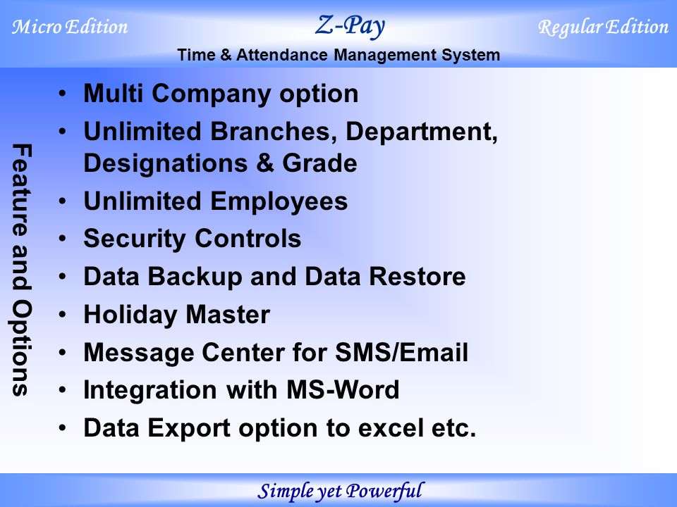 Micro Edition Z-Pay Regular Edition Time & Attendance Management
