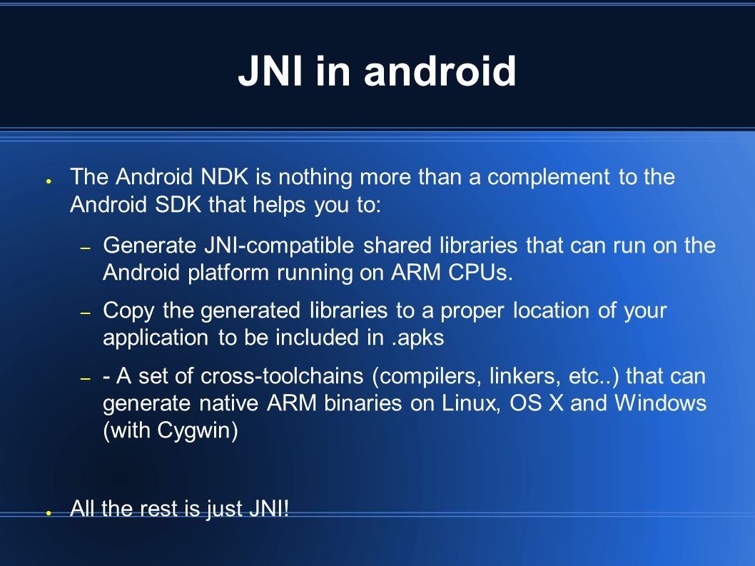 What is Android NDK ○ A toolset that lets you embed in you app