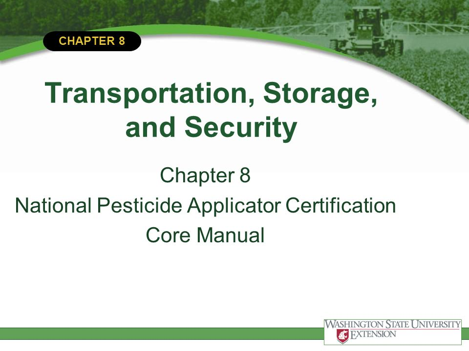Chapter 8 Transportation Storage And Security Chapter 8 National