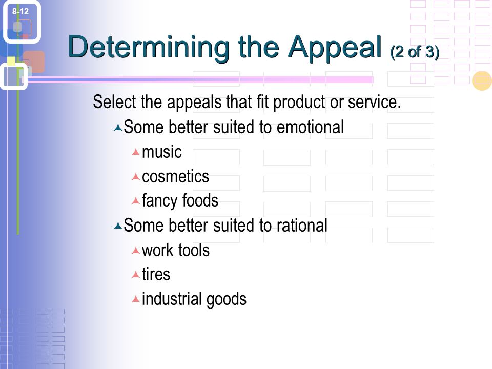 8-12 Determining the Appeal (2 of 3) Select the appeals that fit product or service.