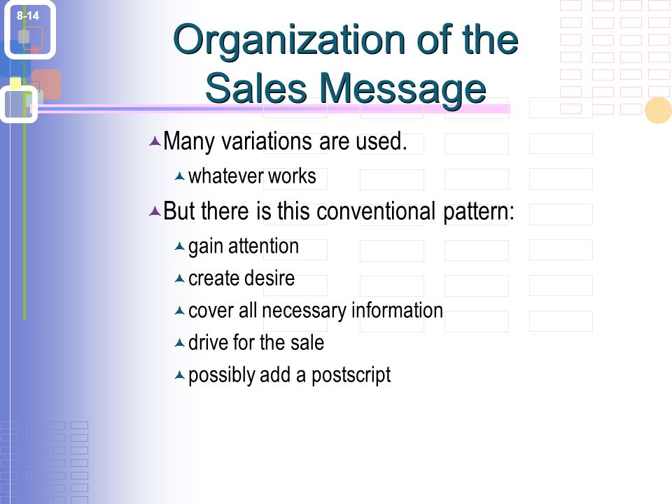 8-14 Organization of the Sales Message  Many variations are used.