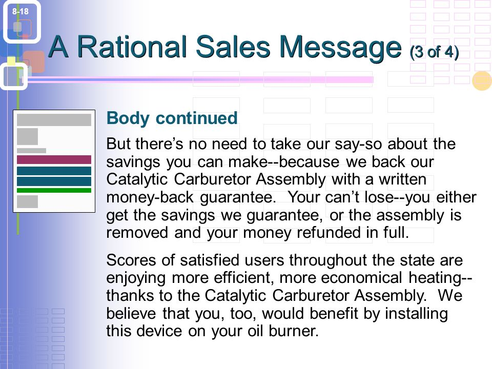 8-18 But there's no need to take our say-so about the savings you can make--because we back our Catalytic Carburetor Assembly with a written money-back guarantee.