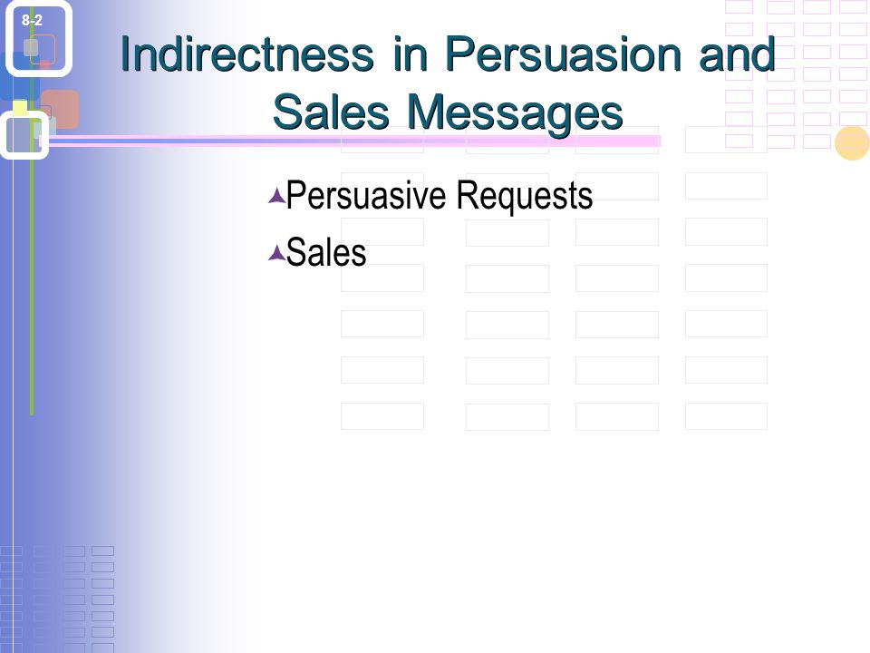8-2  Persuasive Requests  Sales Indirectness in Persuasion and Sales Messages