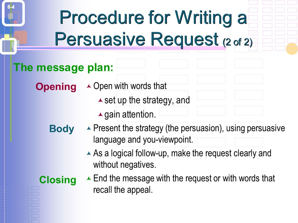 8-4 Procedure for Writing a Persuasive Request (2 of 2)  Open with words that  set up the strategy, and  gain attention.