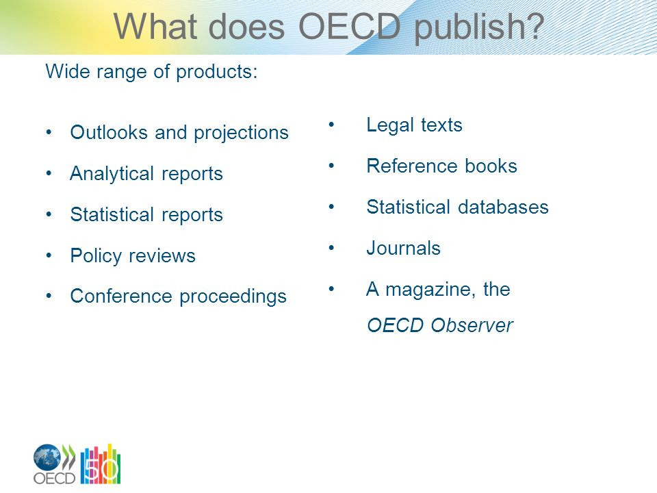 13 What does OECD publish.