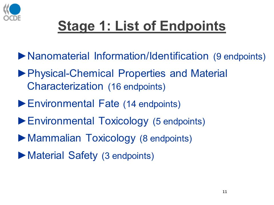 Stage 1: List of Endpoints ►Nanomaterial Information/Identification (9 endpoints) ►Physical-Chemical Properties and Material Characterization (16 endpoints) ►Environmental Fate (14 endpoints) ►Environmental Toxicology (5 endpoints) ►Mammalian Toxicology (8 endpoints) ►Material Safety (3 endpoints) 11