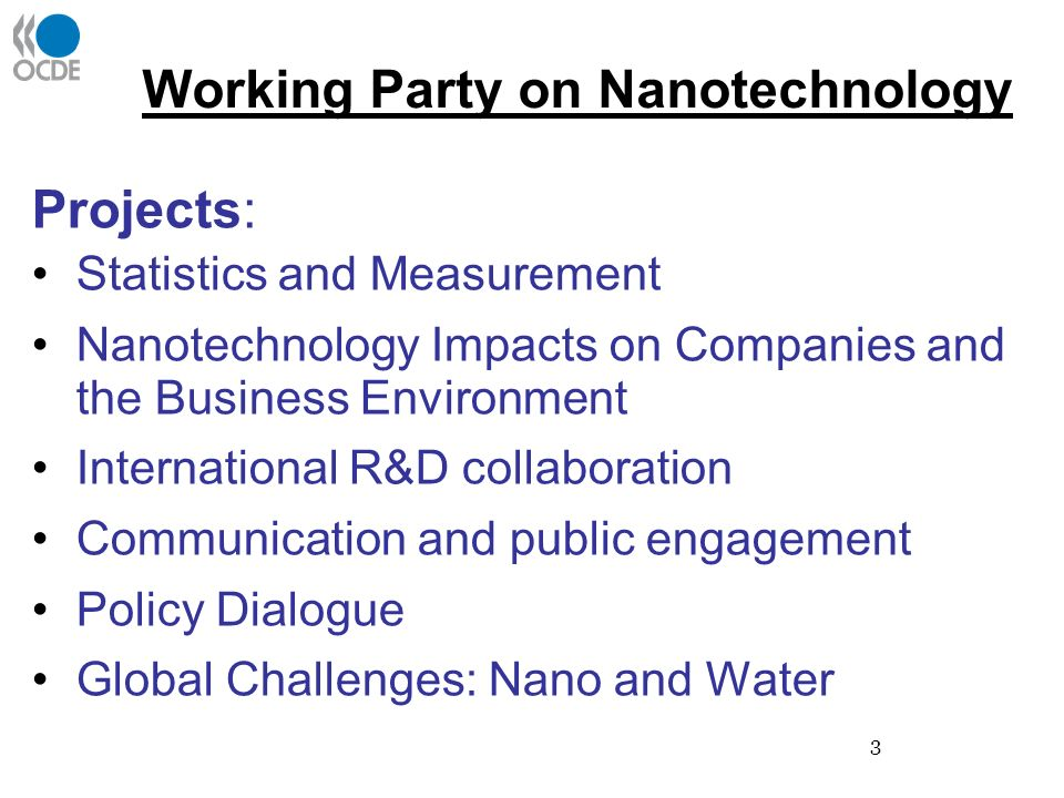 3 Working Party on Nanotechnology Projects: Statistics and Measurement Nanotechnology Impacts on Companies and the Business Environment International R&D collaboration Communication and public engagement Policy Dialogue Global Challenges: Nano and Water