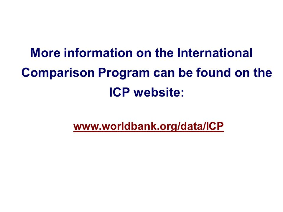More information on the International Comparison Program can be found on the ICP website: