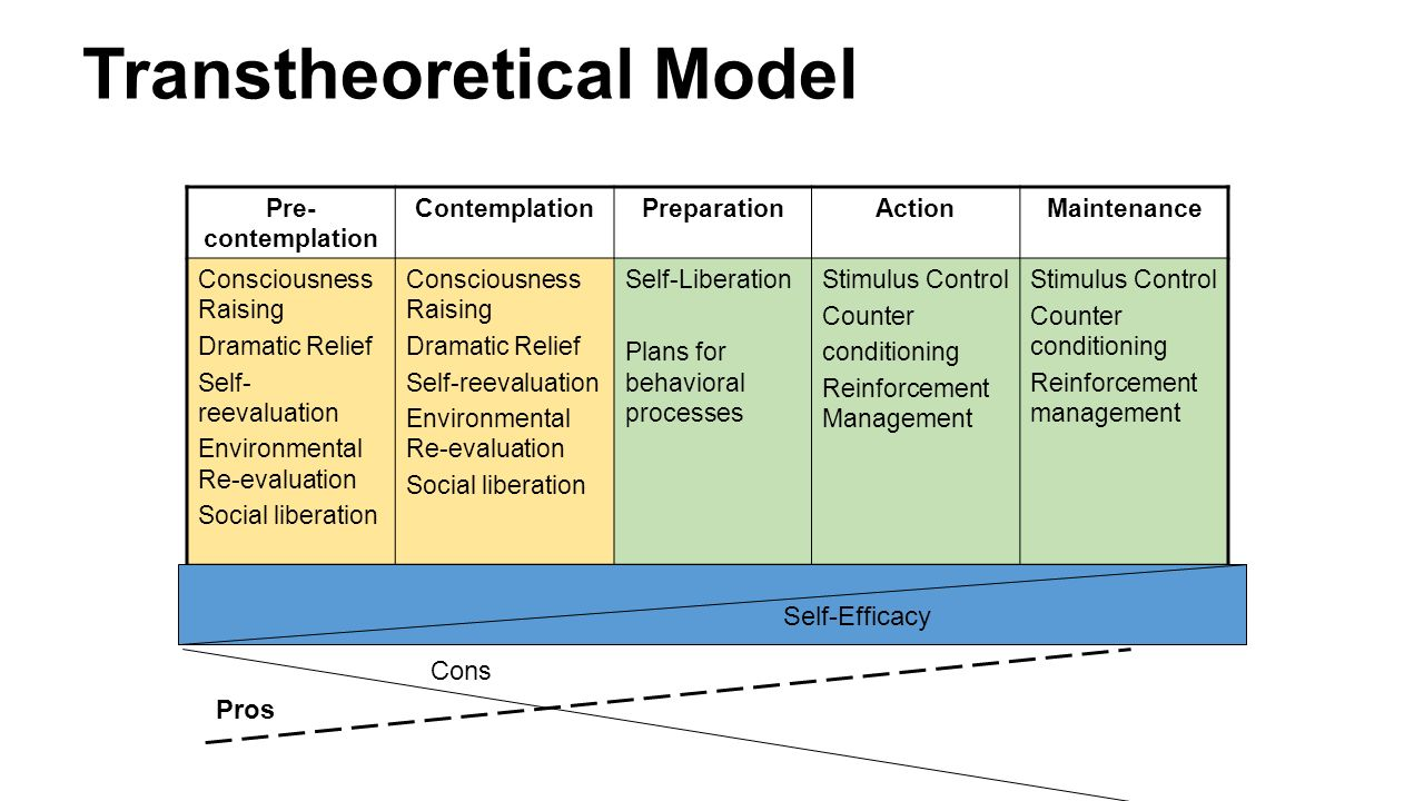 transtheoretical model of health behavior and childhood obesity The transtheoretical model: uses the stages of change to integrate the most powerful principles and processes of change from leading theories of counseling and whereas other models of behavior change focus exclusively on certain dimensions of change (eg theories focusing mainly on social or.