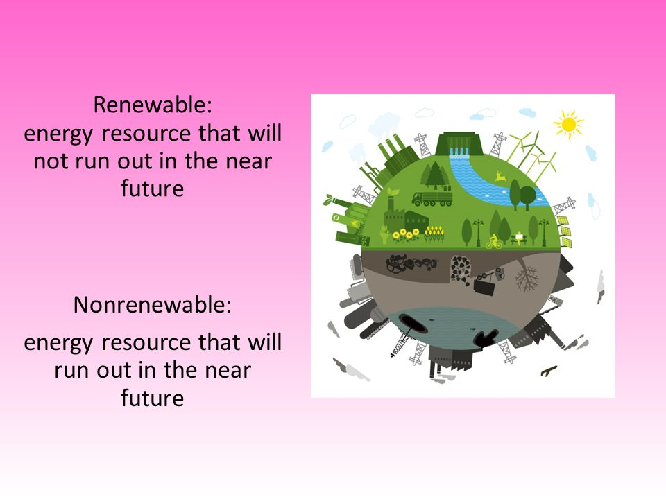 Renewable: energy resource that will not run out in the near future Nonrenewable: energy resource that will run out in the near future
