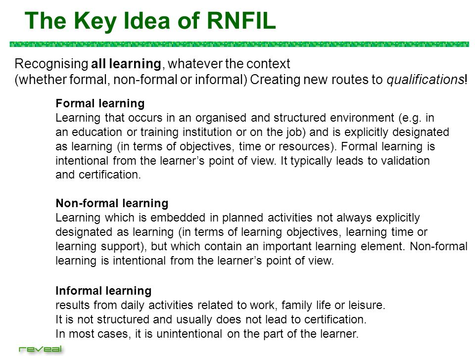 Validating non-formal and informal learning environments