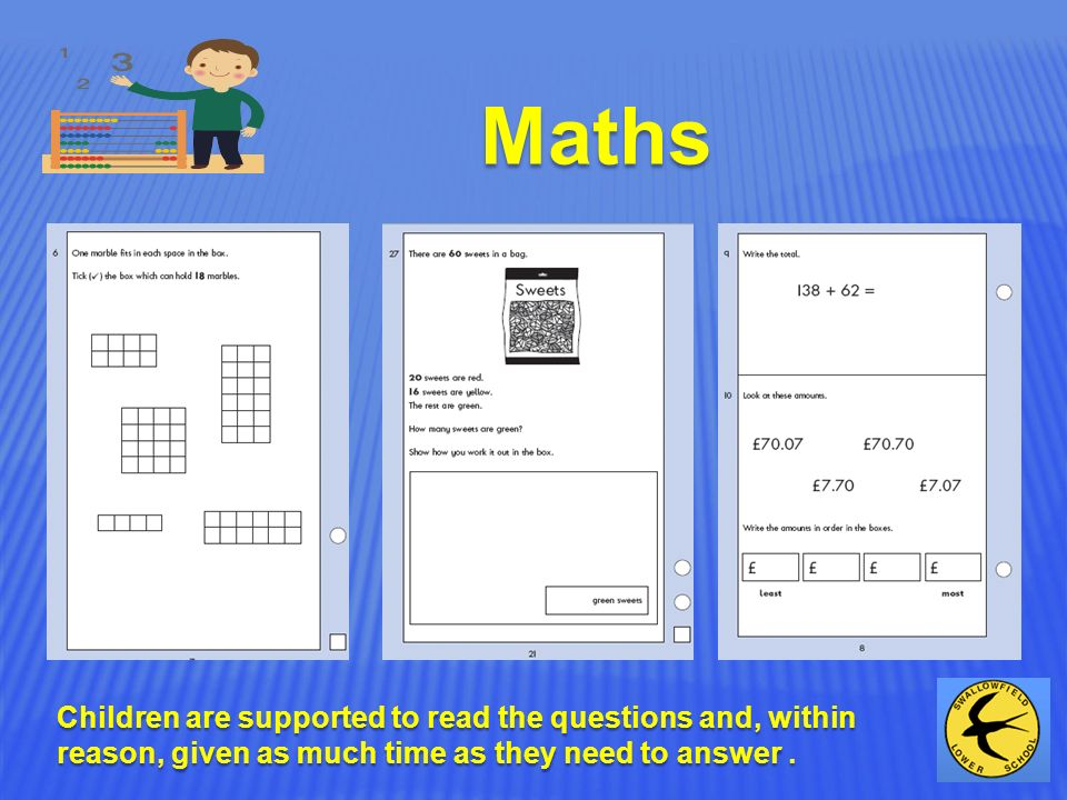 Maths Children are supported to read the questions and, within reason, given as much time as they need to answer.