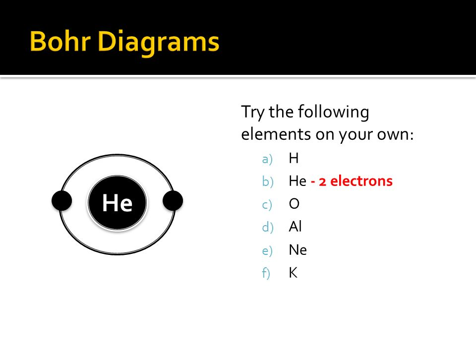 Try the following elements on your own: a) H – 1 electron b) He c) O d) Al e) Ne f) K H H