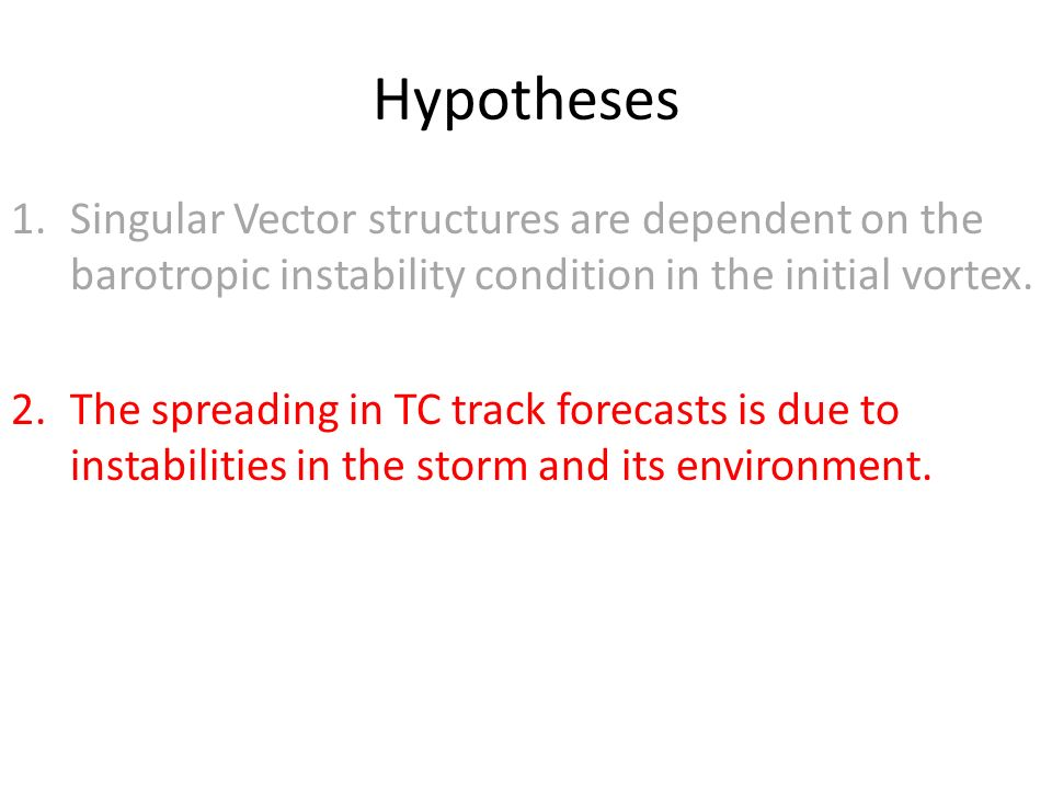 Hypotheses 1.Singular Vector structures are dependent on the barotropic instability condition in the initial vortex.