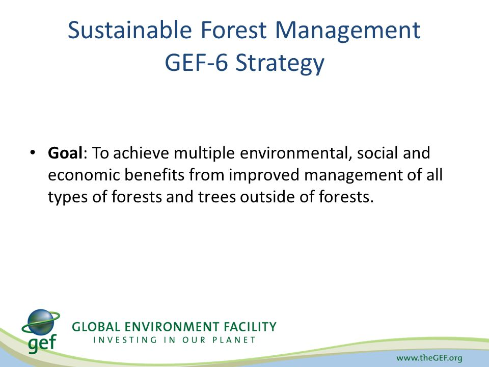 Sustainable Forest Management GEF-6 Strategy Goal: To achieve multiple environmental, social and economic benefits from improved management of all types of forests and trees outside of forests.