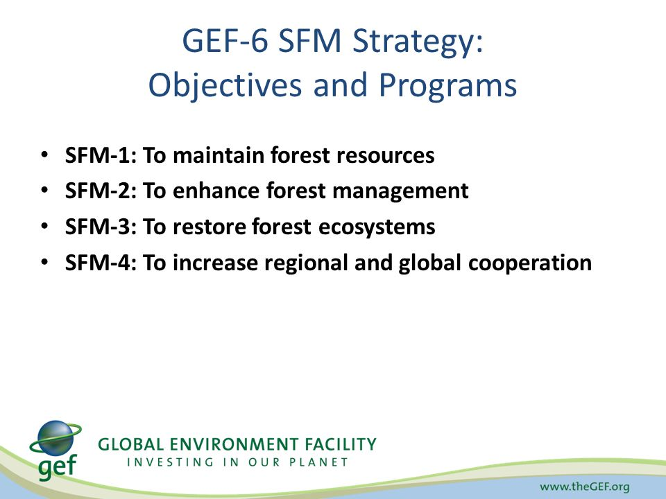 GEF-6 SFM Strategy: Objectives and Programs SFM-1: To maintain forest resources SFM-2: To enhance forest management SFM-3: To restore forest ecosystems SFM-4: To increase regional and global cooperation
