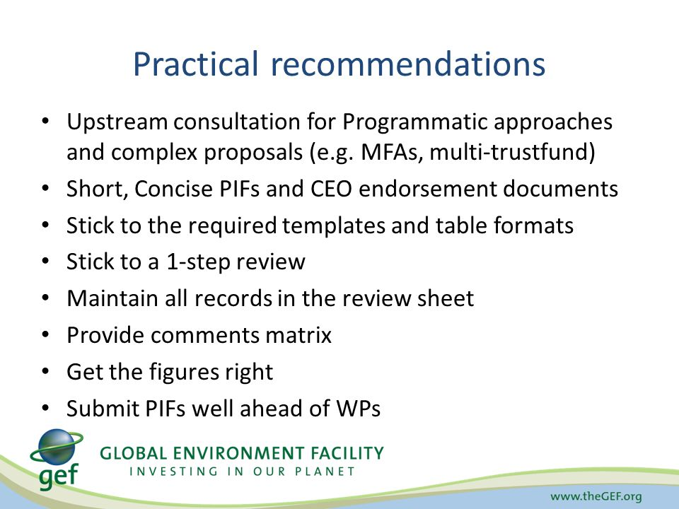 Practical recommendations Upstream consultation for Programmatic approaches and complex proposals (e.g.