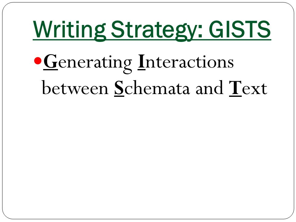 Writing Strategy: GISTS Generating Interactions between Schemata and Text