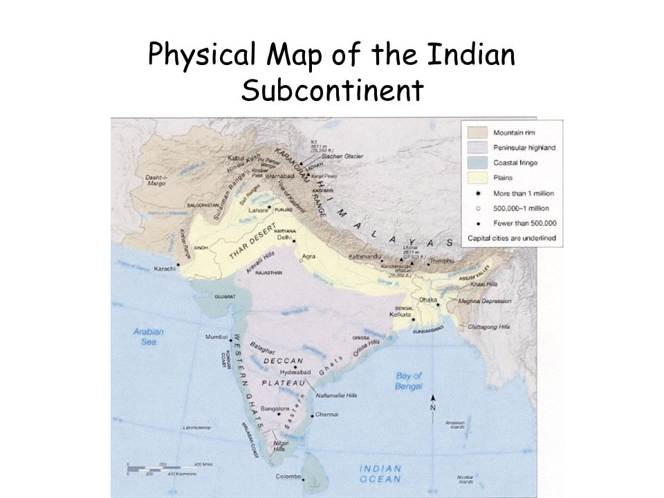 Physical Map of the Indian Subcontinent