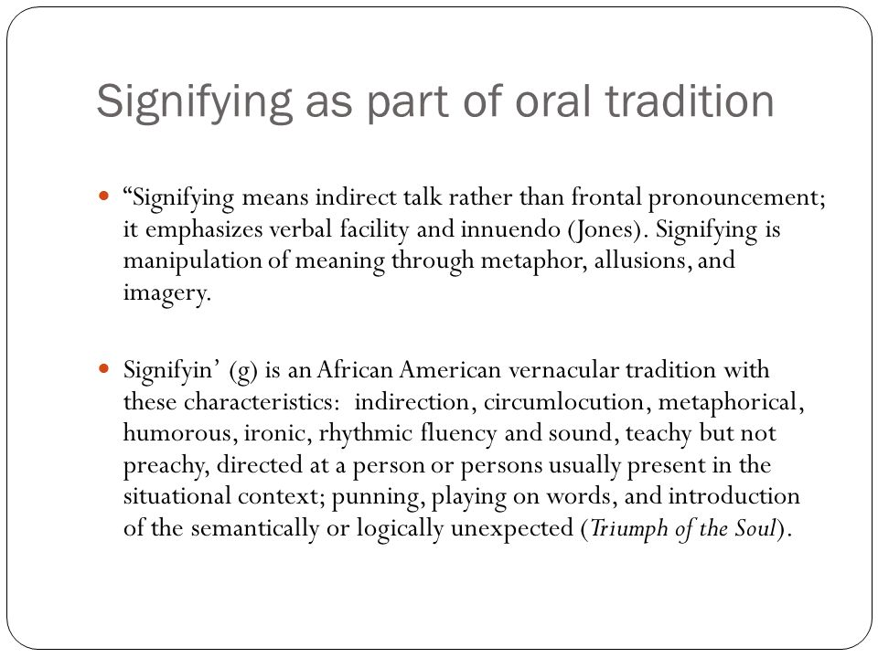 african american oral tradition