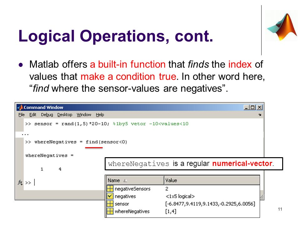 Logical Ops' on Arrays When we need to compare arrays, find