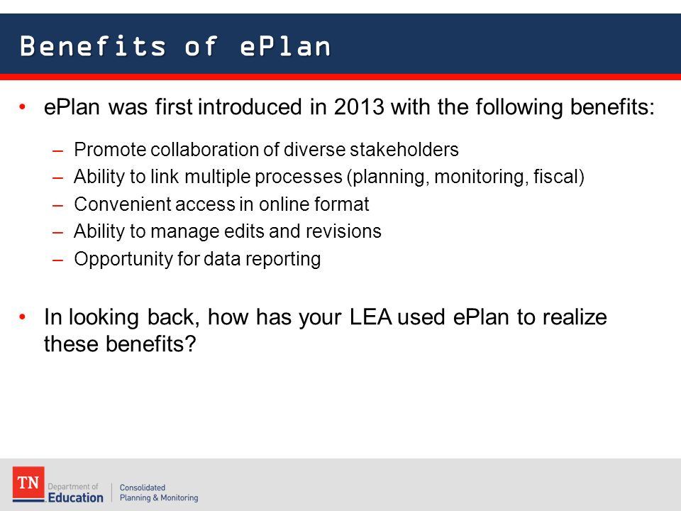 EPlan for Advanced Users 2015 ESEA Directors Institute