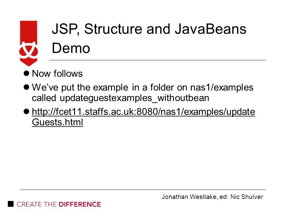 Jonathan Westlake, ed: Nic Shulver JSP, Structure and JavaBeans JSP