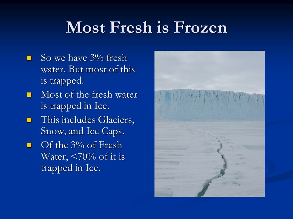 Most Fresh is Frozen So we have 3% fresh water. But most of this is trapped.