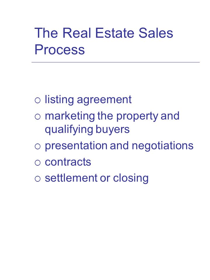 Chapter 10 Real Estate Brokerage The Real Estate Sales Process
