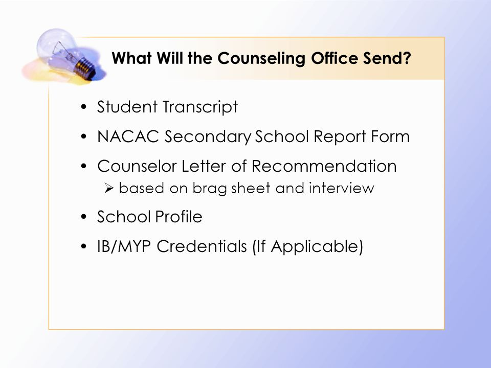 What Will the Counseling Office Send.
