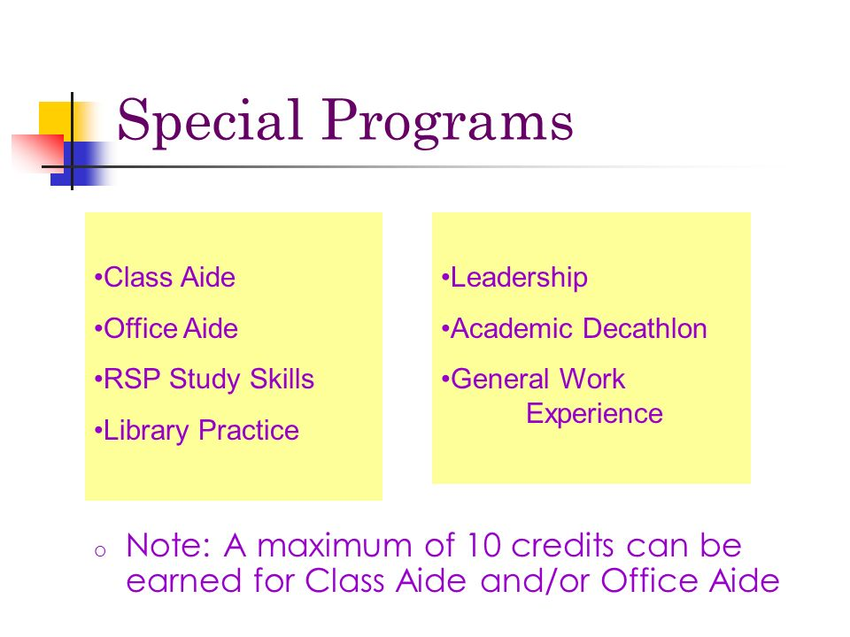 o Note: A maximum of 10 credits can be earned for Class Aide and/or Office Aide Class Aide Office Aide RSP Study Skills Library Practice Leadership Academic Decathlon General Work Experience