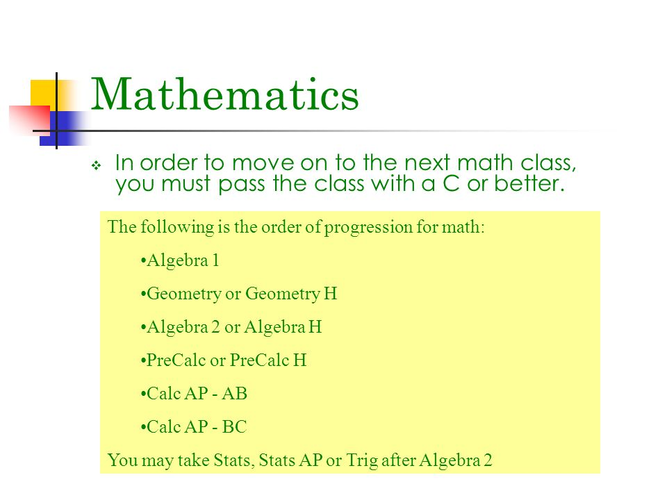  In order to move on to the next math class, you must pass the class with a C or better.