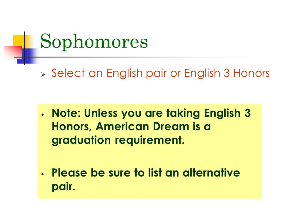 Sophomores  Select an English pair or English 3 Honors Note: Unless you are taking English 3 Honors, American Dream is a graduation requirement.