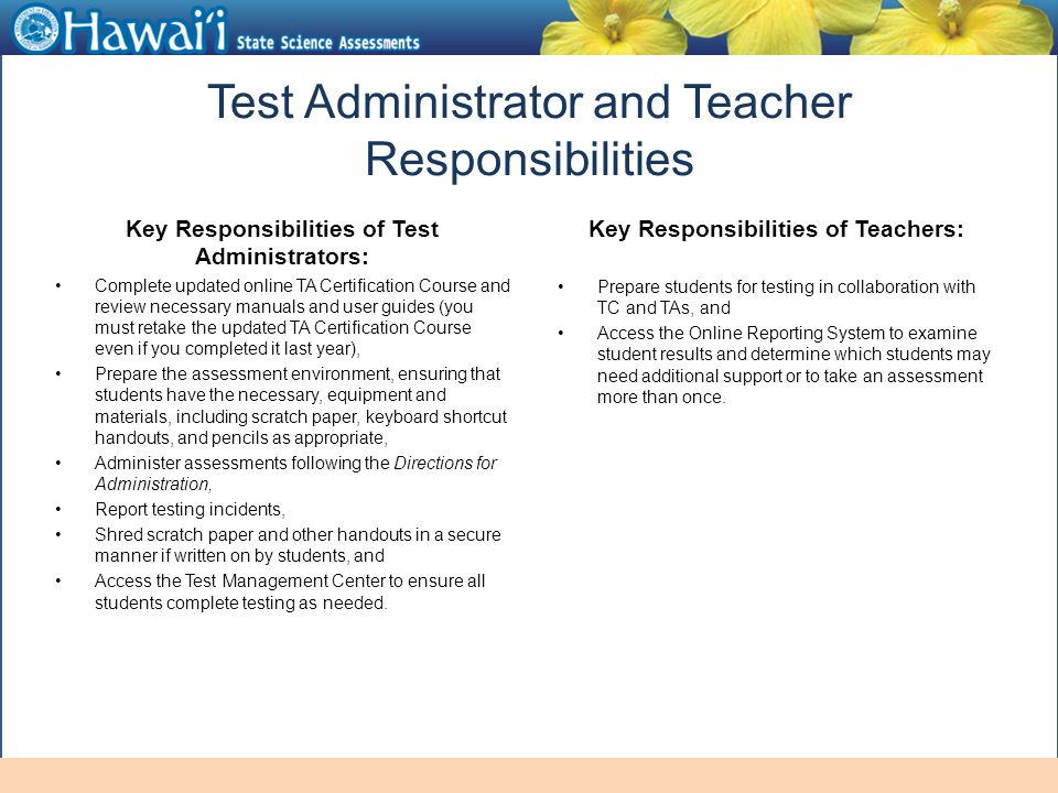 Online Hawaii State Assessments Information For Test Administrators