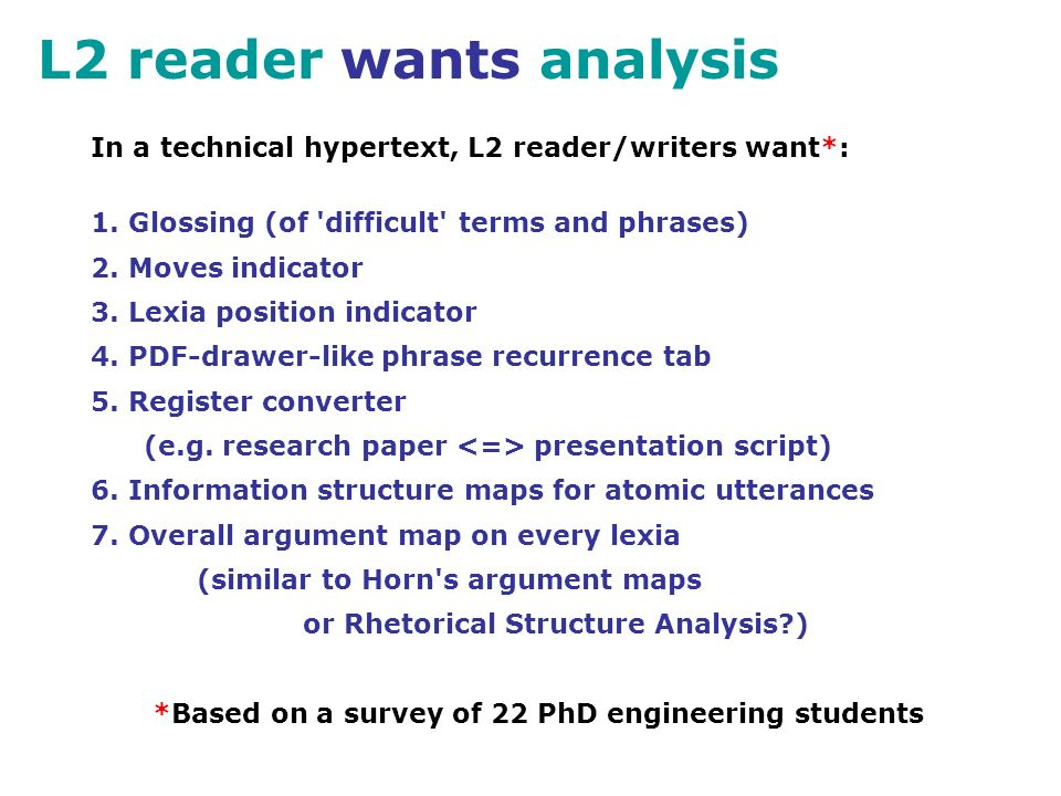 L2 reader wants analysis In a technical hypertext, L2 reader/writers want*: 1.