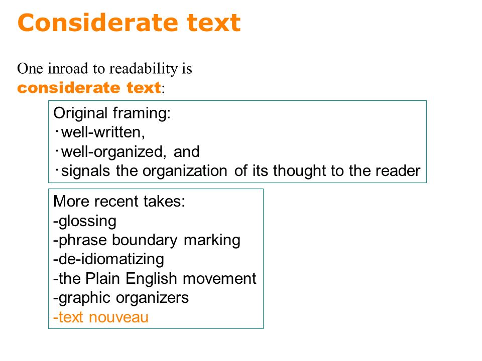 Considerate text Original framing: ・ well-written, ・ well-organized, and ・ signals the organization of its thought to the reader One inroad to readability is considerate text : More recent takes: -glossing -phrase boundary marking -de-idiomatizing -the Plain English movement -graphic organizers -text nouveau